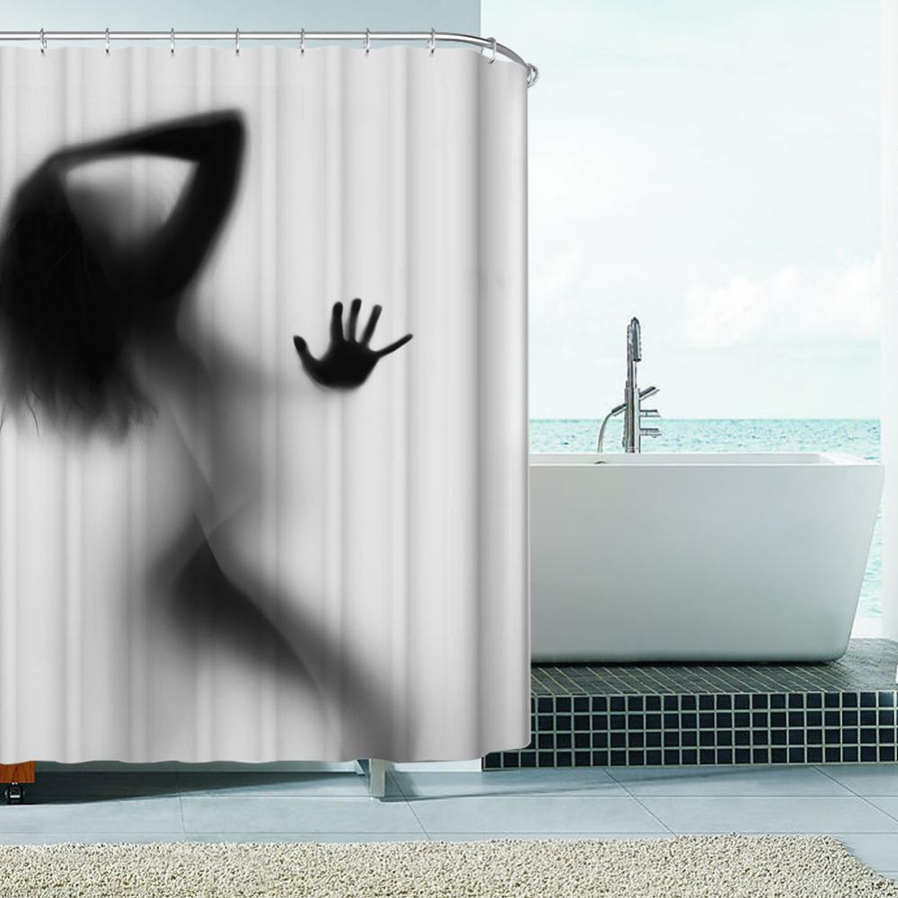Mode Kreative Sexy Mädchen Und Frauen Schatten Silhouette Bad Duschvorhang Wasserdicht Bad Vorhang Dekoration
