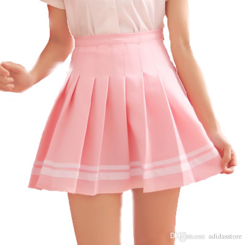 Listrado Estilo Preppy Lolita Uniformes Escolares Saia Saia Plissada Faldas Mulheres Mini Bonito Harajuku Senhoras Jupe Kawaii Saias