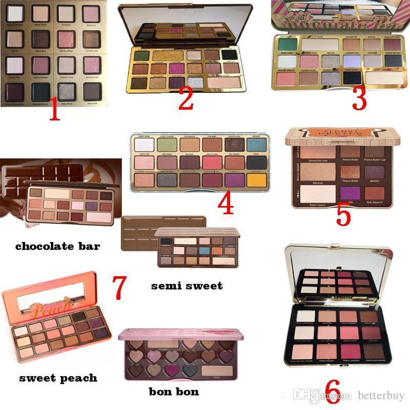 Sweet peach Makeup Eye Shadow Chocolate Bar Semi-sweet 1 2 3 4 white chocolate bar 16colors Professional Eyeshadow Palette High Quality