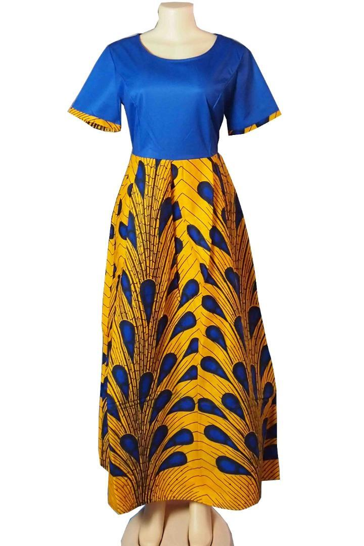 New style African Women clothing Dashiki fashion Pure color elastic cloth Wax cotton cloth one piece long dress 1850