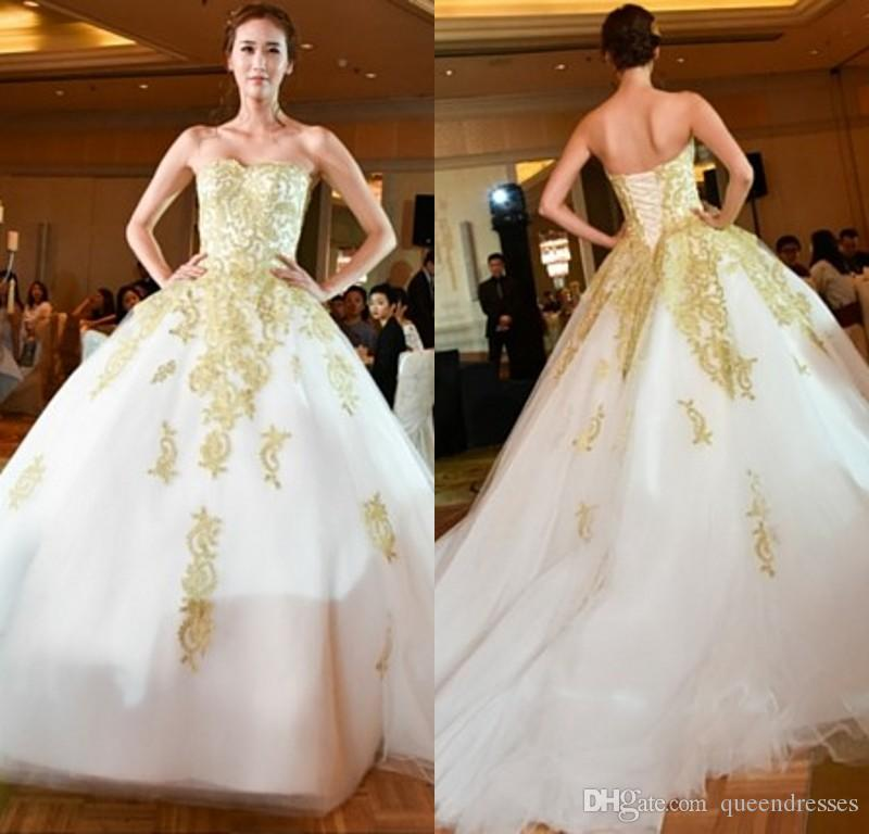 Gold Designer Wedding Gowns