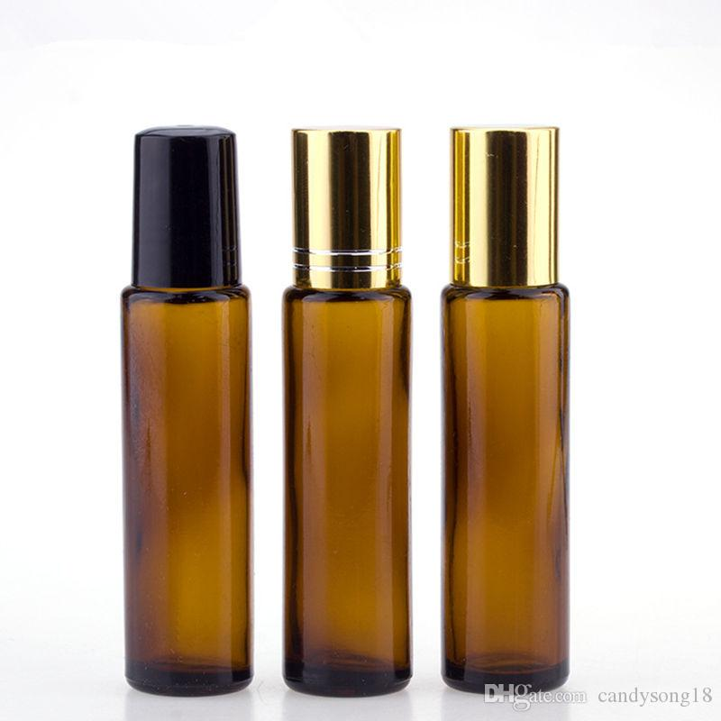 Amber Glass Roll On Bottles 15ml Essential Oil Bottle Stainless Steel Roller Ball Empty Perfume Cotainer F1243