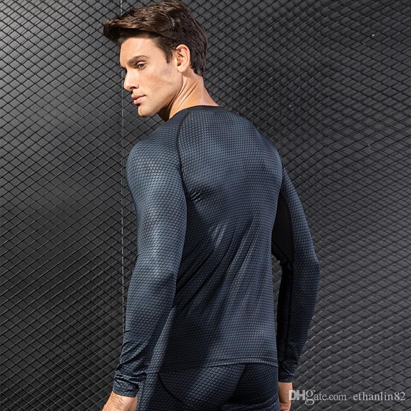 COMPRESIÓN DE COMPRESIÓN COMPRESIÓN DE COMPRESIÓN RÁPIDA Long Long Quick T Hombres Mangas delgadas Gimnasio Seco Entrenamiento muscular BodyBuilding Camisa Tops Camisa Running Sport Oeucq