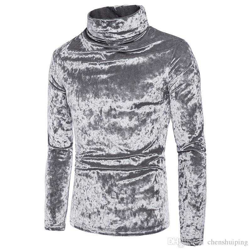 Gola alta dos homens de moda de alta manga comprida coral fleece t-shirt polos hoodies roupas masculinas frete grátis