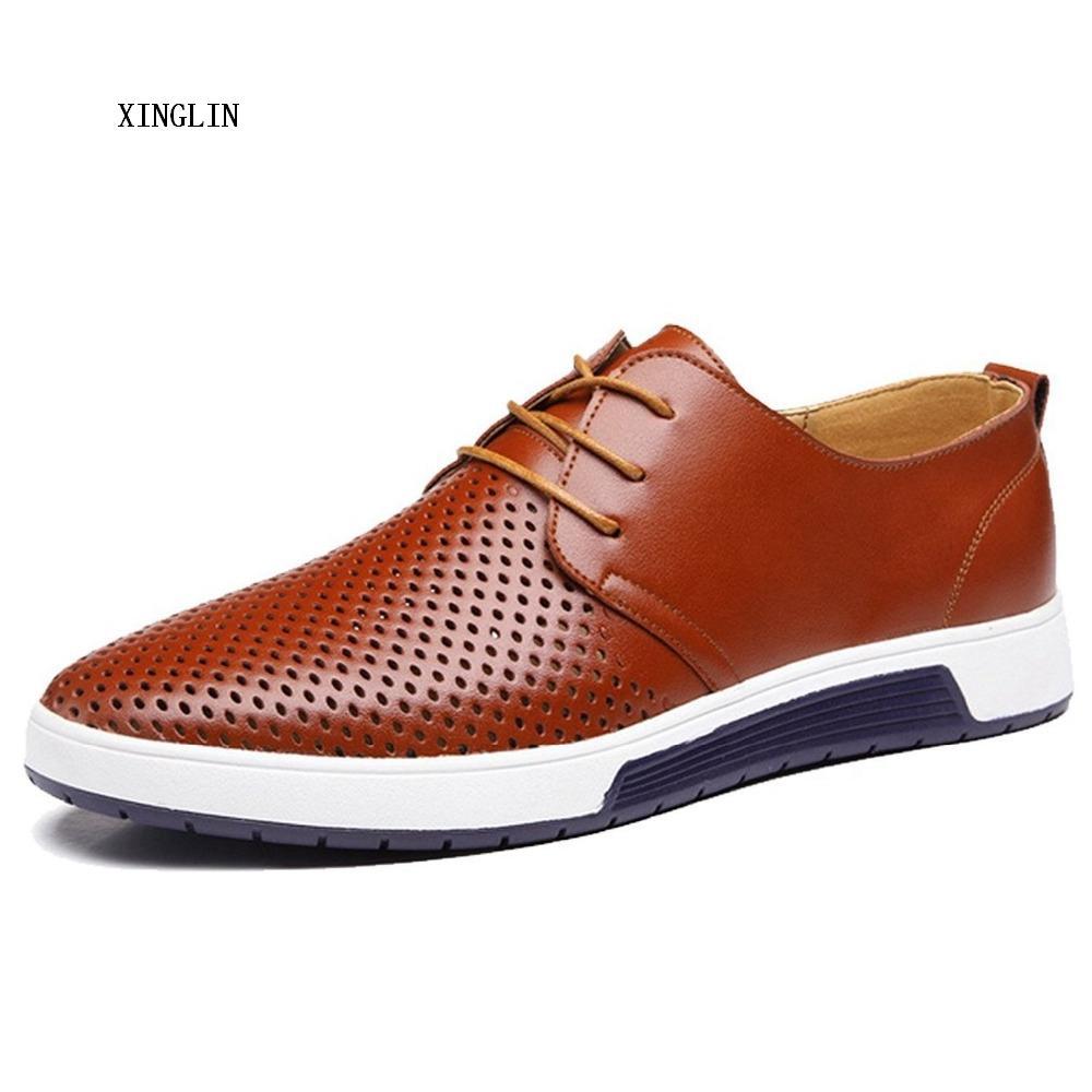 Xinglin Piel Oxford agujeros Casual Diseño Manera del verano respirable respirable blanca ocio de los hombres zapatos de los planos del tamaño grande