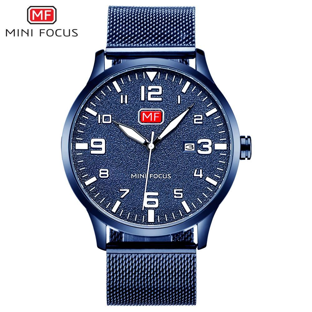 MINIFOCUS Простые Часы мужские Часы Лучшие Часы Человек Тонкий Повседневная Мода Дисплей Даты Часы Мужчины Кварцевые Наручные Часы