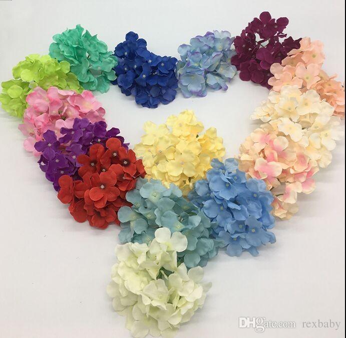 Silk Hydrangea Fleur artificielle Têtes de fleur de soie à la main pour la décoration de mariage