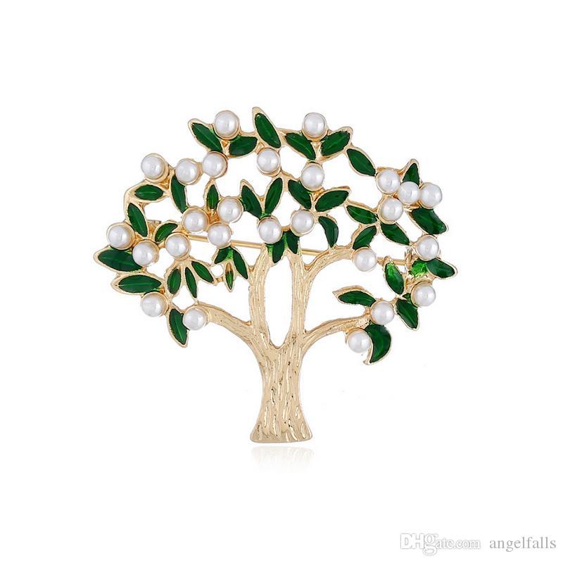Frauen Baum Form Brosche Perle Brosche Anzug Anstecknadel für Weihnachtsgeschenk Partei Modeschmuck Zubehör Hohe Qualität