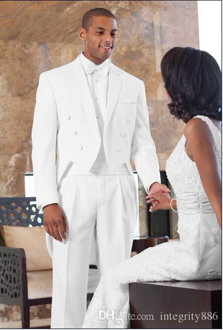 Fashion Double-Breasted White Tailcoat Men Wedding Tuxedos Morning Style Groom Tuxedos Men Formal Dinner Prom Suit(Jacket+Pants+Tie+Girdle)9
