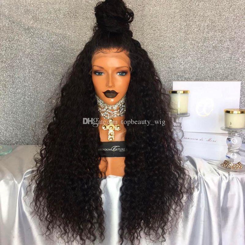Peluca del cordón de las pelucas del frente rizado rizado superior de seda del cordón del pelo humano de la Virgen del Perú sin cola del pelo humano para las mujeres Negro