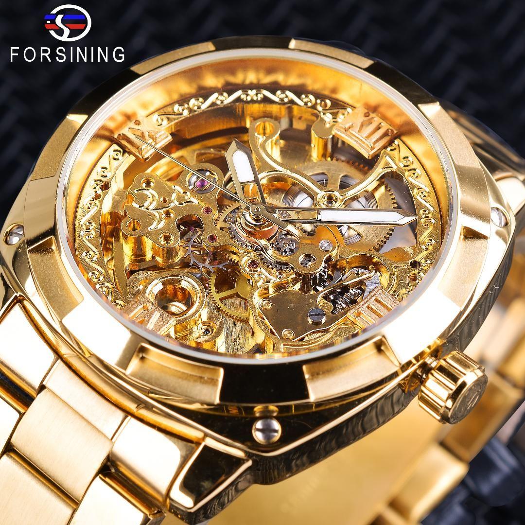 Forsining ريترو رجال التلقائية الميكانيكية Wirstwatches الأعلى الذهبي كامل التصميم مضيئة الأيدي الهيكل العظمي ساعة ذكر