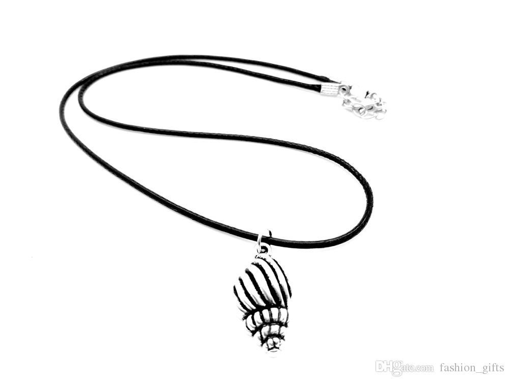 1PC-Antik Silber Conch Ocean Winds Halskette Strand Conch Shell Halskette Seashell Sea Shell Halskette Meerjungfrau Leder Seil Halsketten