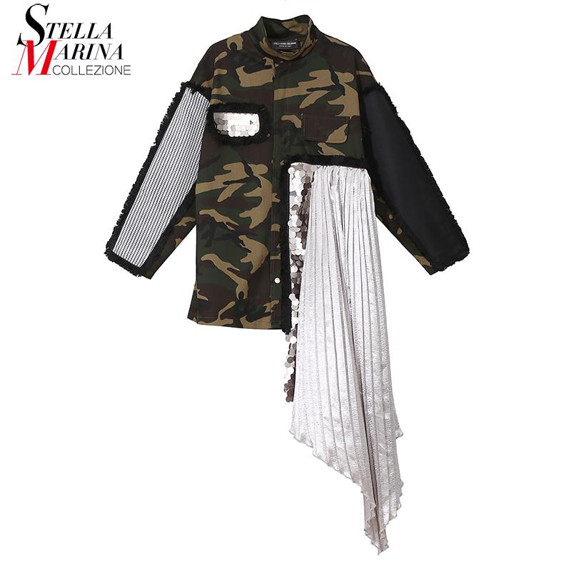 2018 Korean Style Women Camouflage Sequined Jacket Coat With Pleated Cloth Stitched Female Unique Casual Jacket Windbreaker 3818