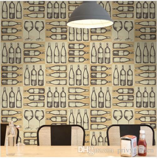 Nordic Style Retro Nostalgic Wine Bottle Glass Wall Paper Bar Restaurant KTV Background Wall Industrial Wind Wallpaper 3D
