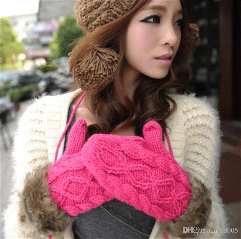 Lady Faux Fur Mittens Glove Autumn Winter Women Girls Knitted Wool Yarn Keep Warm Halter Gloves Pure Color Fashion 6 63sq bb