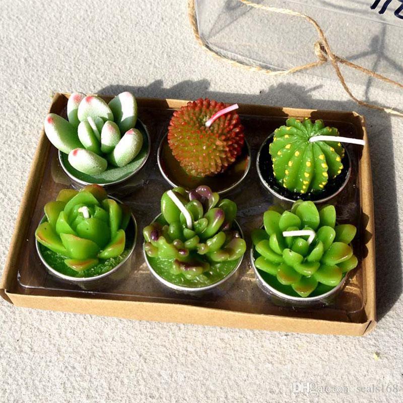 Dekorative Hochzeit Kerzen Mini Kaktus Kerze Tisch Tee Licht Hausgarten Weihnachten Simulation Pflanze Kerzenhalter 6 Teile / satz HH7-1236