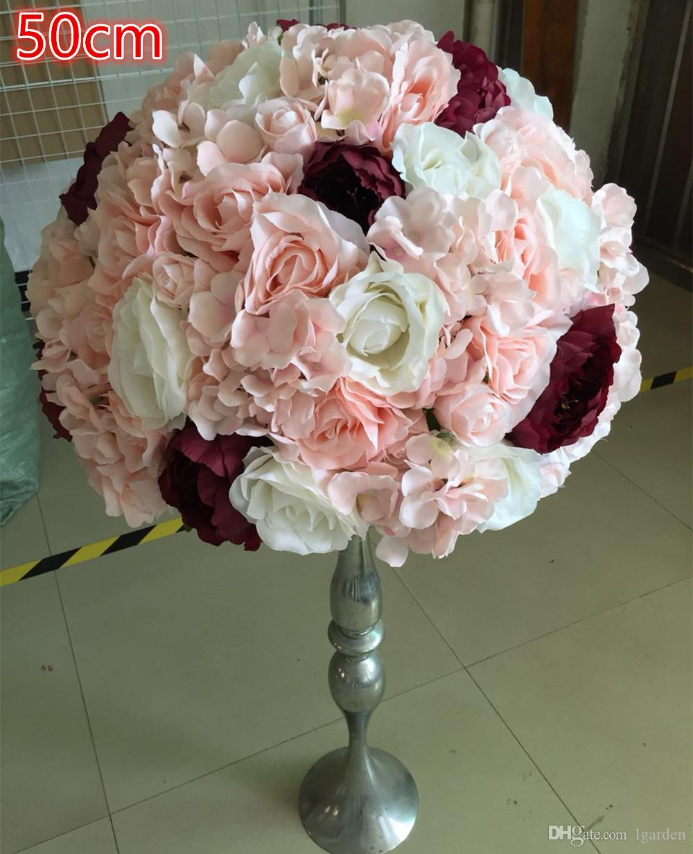 Artificial Ivory Rose Road Ball Shot Wedding Decoration Table Core Decoration Flower Ball 50cm