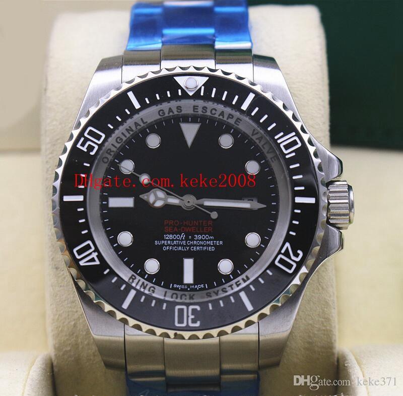 Relógios De Pulso De Luxo 44mm 116660 Preto PRO-HUNTER Vermelho Logotipo Em Aço Inoxidável Cerâmica Ásia 2813 Movimento Mecânico Automático Mens Watch Relógios