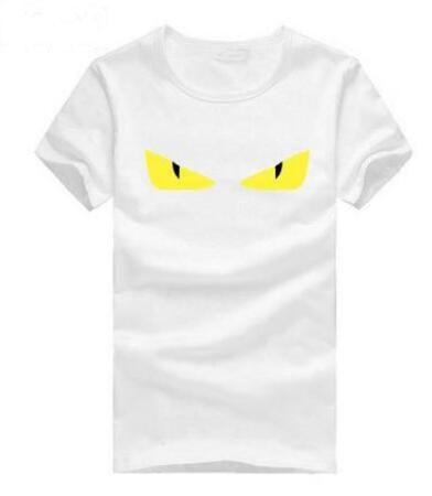 Global Summer Hommes Tee-Shirts Casual Angry Eye Coton À Manches Courtes Col T-shirt Sport T-shirt Top Noir Blanc
