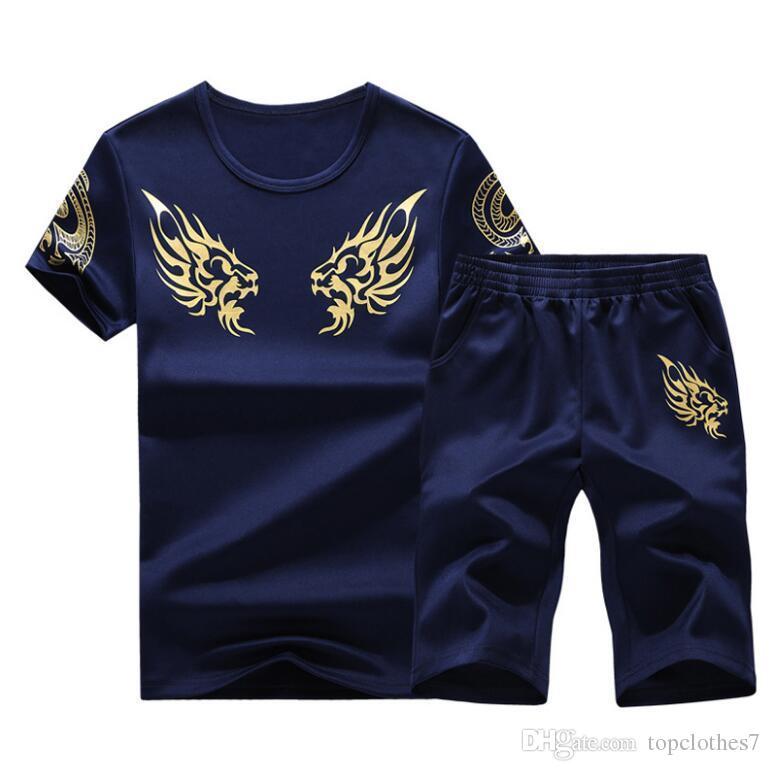 Модные мужские шорты повседневные костюмы 2018 Летний мужской спортивный костюм с коротким рукавом Casaul Slim Fit Спортивный костюм мужской Masculino M-4XL