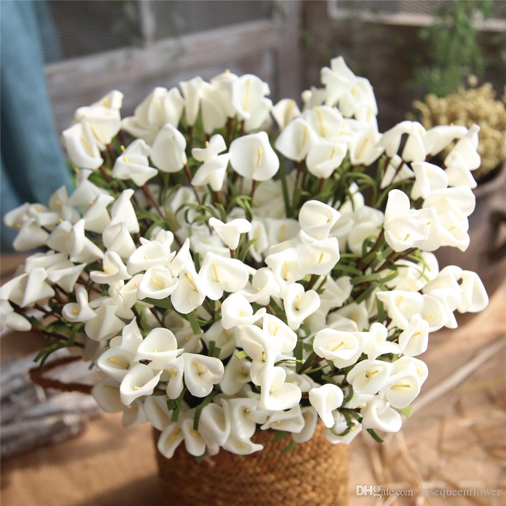 46cm Artificial Calla Bouquet with Leaf PE Fake Calla lily Plants Home Room Decoration Wedding Flowers