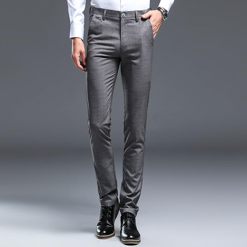 Compre Pantalones De Vestir Formales De Alta Calidad De Los Hombres Pantalones Rectos De La Tela Escocesa Pantalones Casuales De Los Hombres De Negocios Clasicos Adelgazan Delgada Delgada Coreana A 27 89