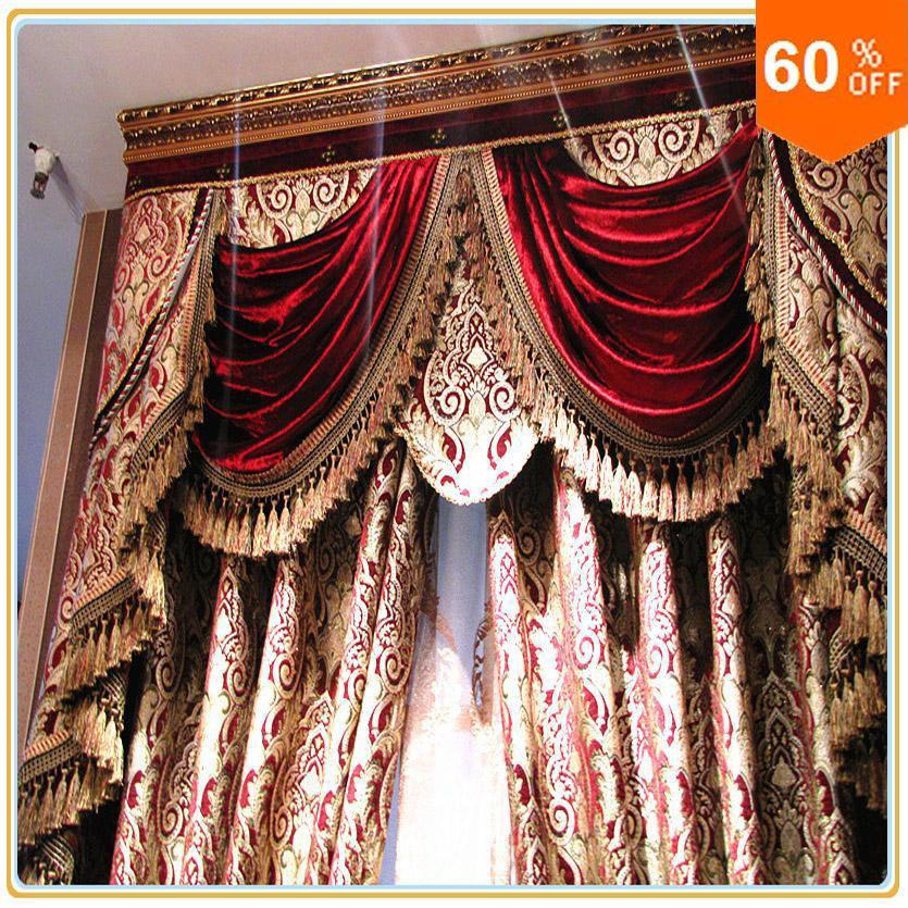 Burgundy Wine Custom Hotel Cortines Classic Royal Calidad Cortina Envíe un estilo barroco expreso para la ventana de ancho