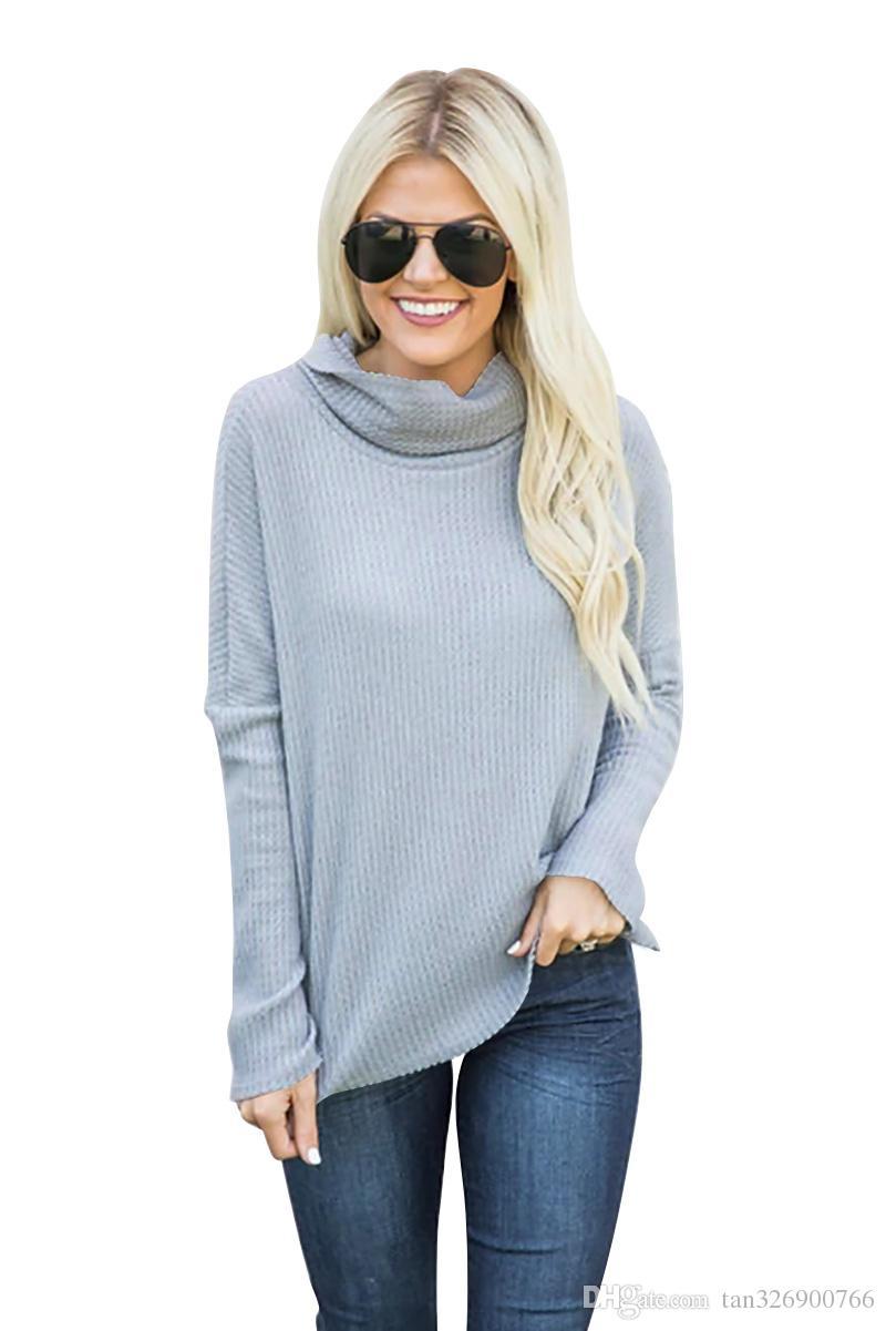Мода женская осень и зима Новый европейский и американский дна рубашки внешней торговли взрывы свалили воротник пит свитер Свитер