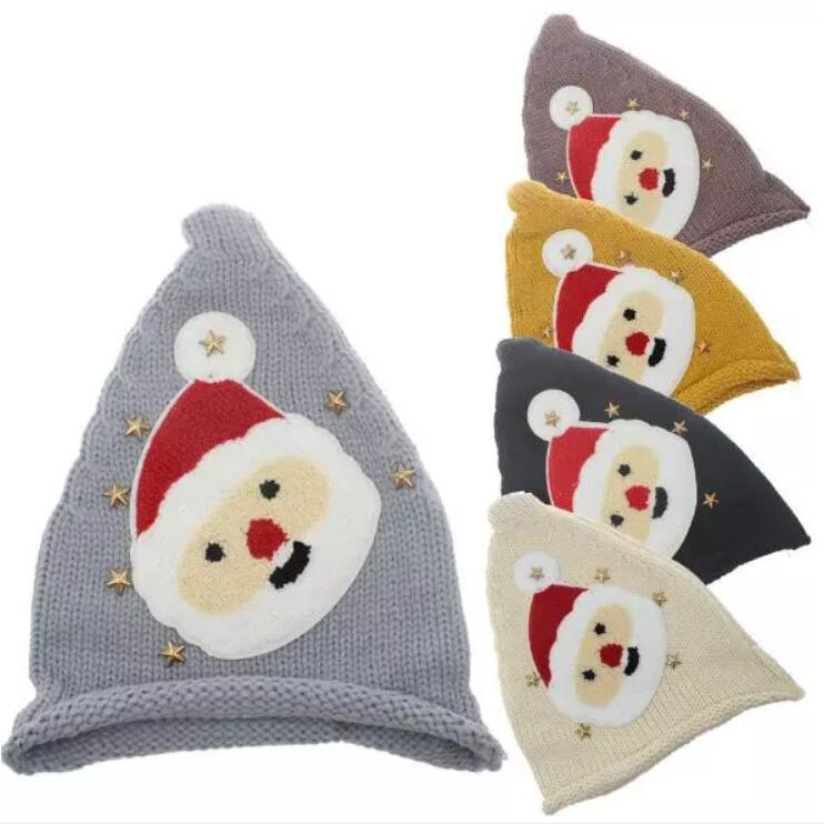 5 Colors Kids Christmas Knitted Caps Baby Santa Claus Knitting Hats Infant Knitted Cap Kids Xmas Hat Winter Beanies 120pcs