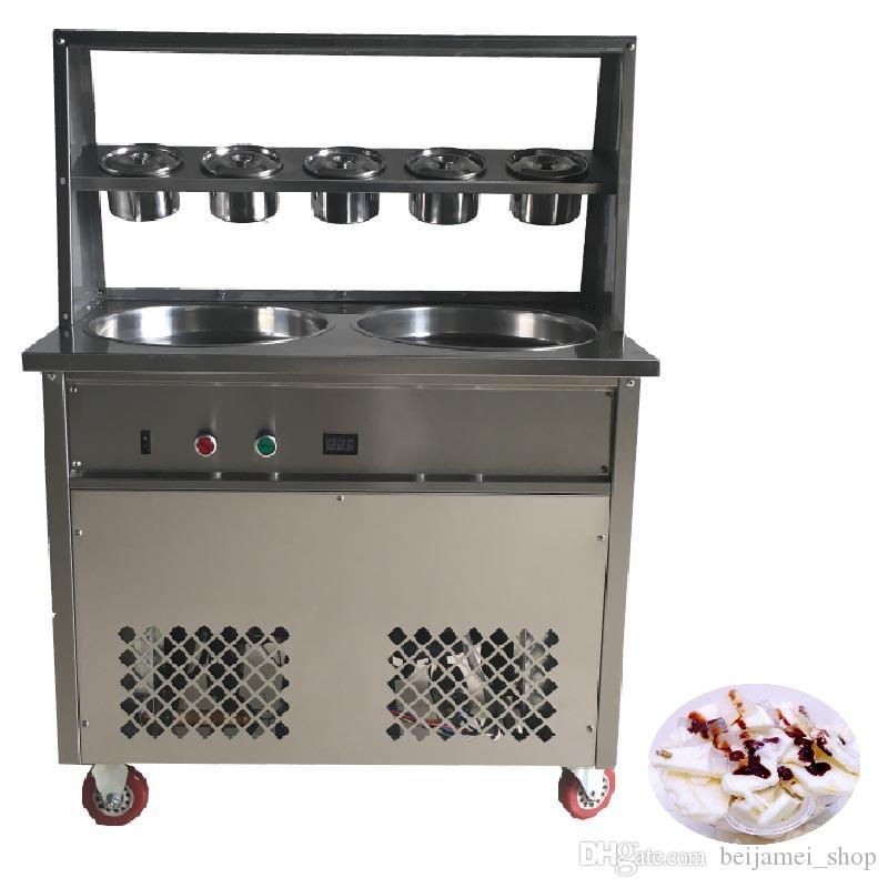 BEIJAMEI Коммерческая машина для жареного мороженого 50 * 2,5 см с двойной круглой сковородой Машина с 5 ведрами