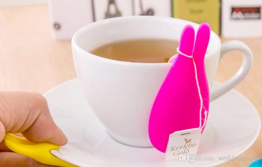 5 colors New Silicone Gel Rabbit Shape Tea Bag Infuser Holder Color Mug Gift Rabbit Silicon Tea Bag stand