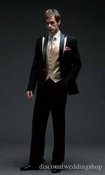 One Button Black Wedding Men Suits Three Piece Groom Tuxedos Slim Fit Men Party Suit Groomsmen Suits (Jacket+Pants+Vest+Tie) J846