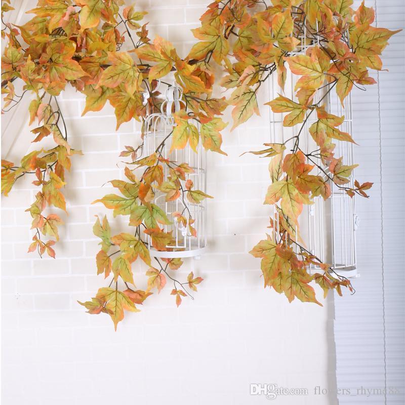 Yapay Ipek Renkli Sonbahar Güz Bırakır Pencere Sonbahar Yaprakları Çelenk Maple Leaf Vine Fake Yeşillik ev bahçe Dekorasyon Çelenkler