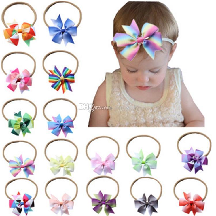Kızlar Naylon Bow Şapkalar headdress için 2018 Yenidoğan Bebek Bantlar Gradyan Elastik Kafa Çocuk Saç Aksesuarları Çocuk Sevimli hairbands