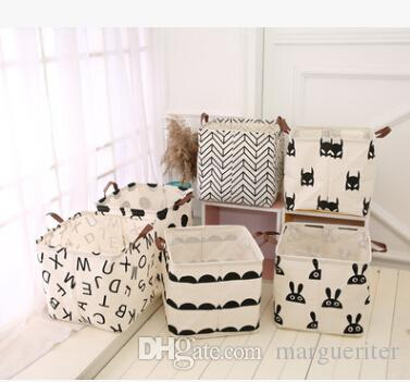 Folding Laundry Storage Basket Dirty Clothes Toys Storage Barrel Letter Bat Print Black And White Clothing Square Organizer 32x32x32cm