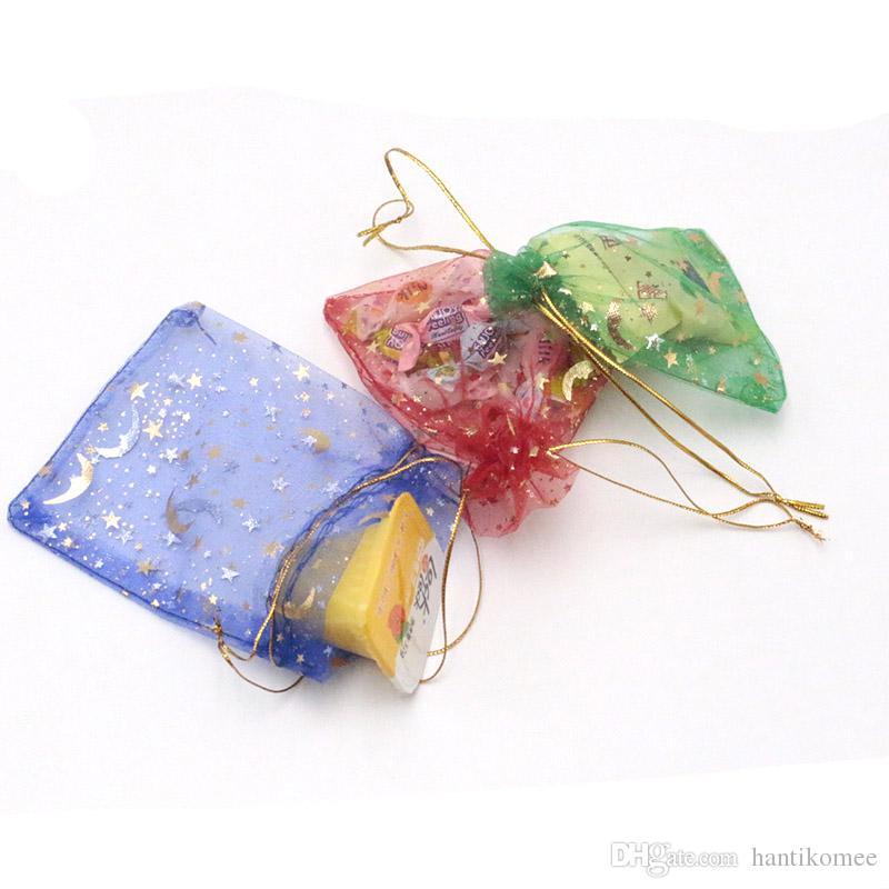 2000 pçs / lote 9x12 cm Colorido Cordão Sacos De Organza Estrela Lua Embalagem Bolsas para Jóias Doces Presentes Snacks Sacos De Armazenamento