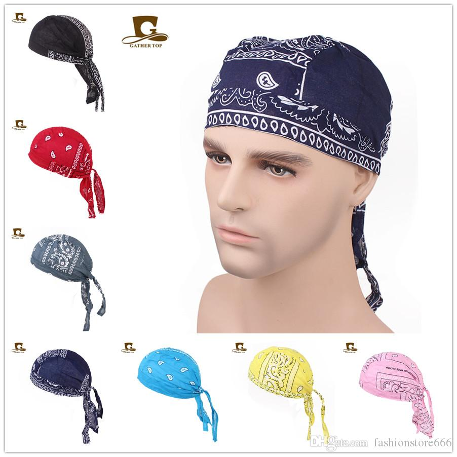 Женщины мужчины хлопок череп шапки Пейсли банданы головные уборы унисекс велосипед велоспорт шляпа durag сделать тряпичная крышка амеба пиратский велосипед шляпа аксессуары для волос