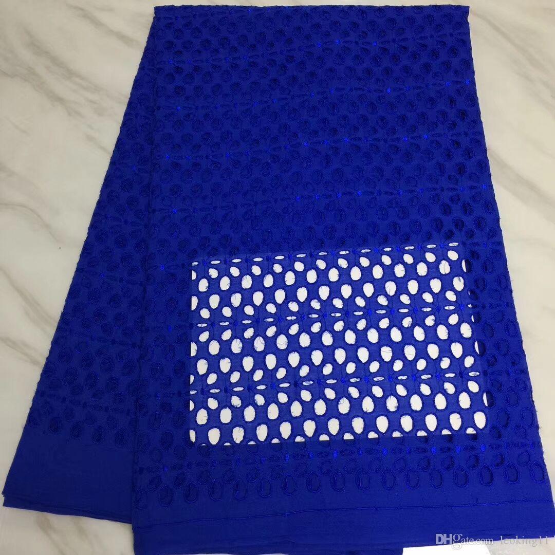 5 Yards / pc Tessuto di cotone africano ricamato blu royal di vendita calda per merletto a secco in voile svizzero per abiti BC159-7