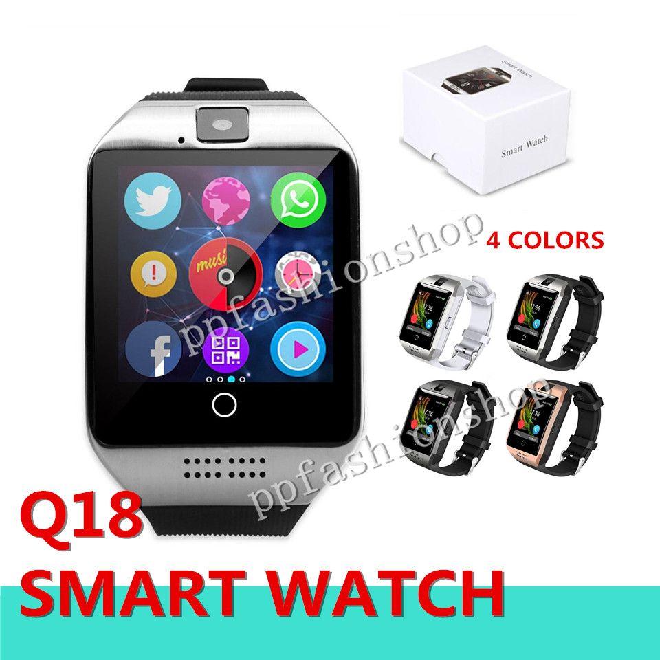 Q18 블루투스 스마트 시계 지원 SIM 카드 NFC 연결 건강 안 드 로이드 스마트 시계 직사각형 패키지