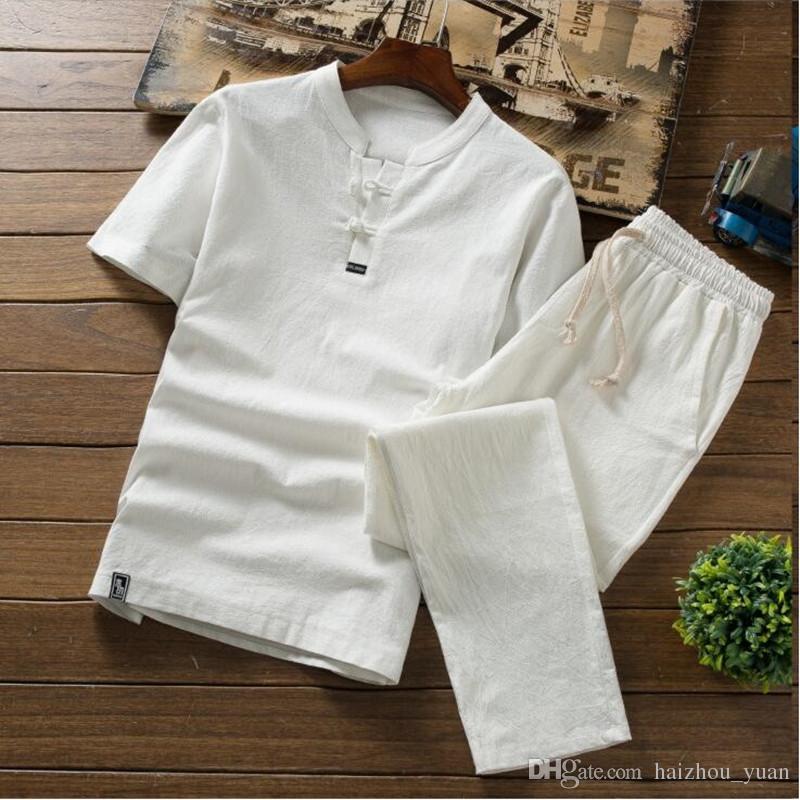 High Quality Summer Thin Linen Sets Men's Cotton Slim Short Sleeve T-Shirt Solid Color Large Size Casual Pants Men