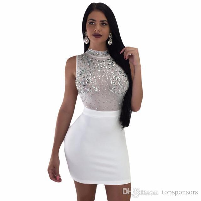 S-XXL 3 цвета летние платья высокой талией сетки алмазы женский Леди женская мода sexy бинты повседневная ночной клуб мини-платье