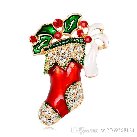 Fashion Colorful Crystal Christmas Boot Brooch Pins Red Green Enamel Brooches Women Men Clothing Accessories Party Jewelry