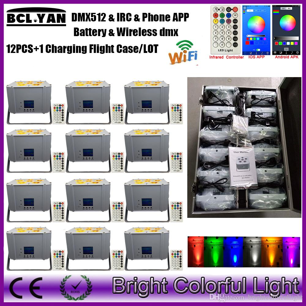 Newest easily operate battery powered Wireless dmx IRC led par can with Phone app 6psc 18w RGBWA+UV 6 IN 1 led uplights 12XLot
