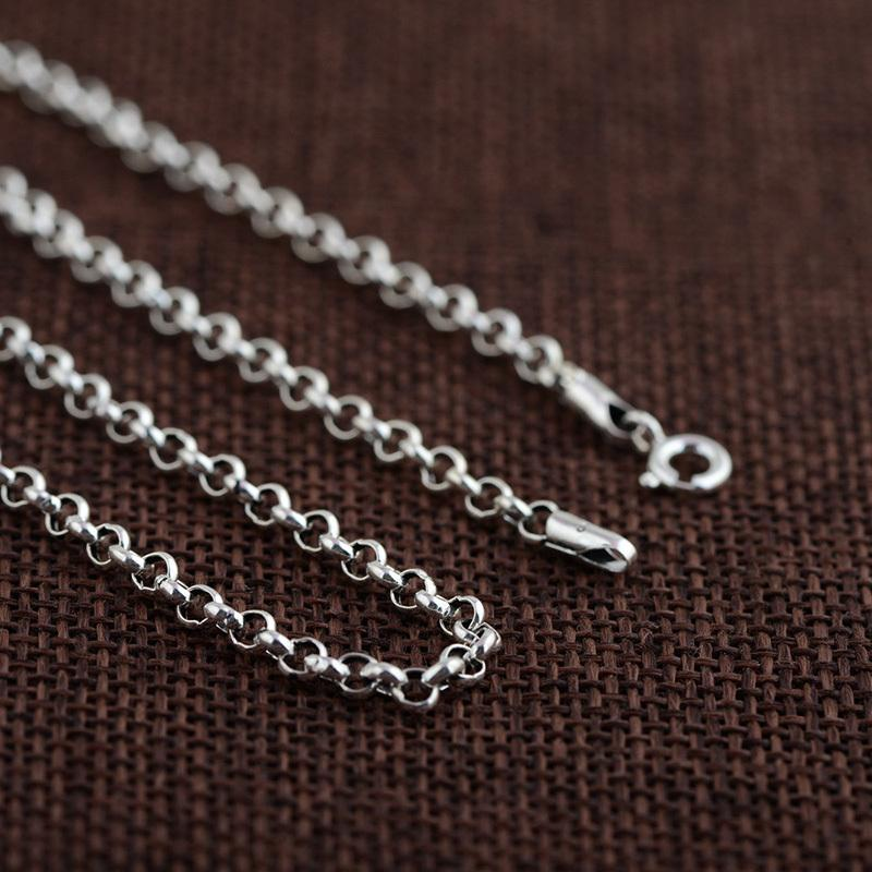 FNJ 100% 925 Silver Link Chain for Women Men Accessorice S925 Thai 3MM Solid Silver Jewelry Making Necklaces Y1891709