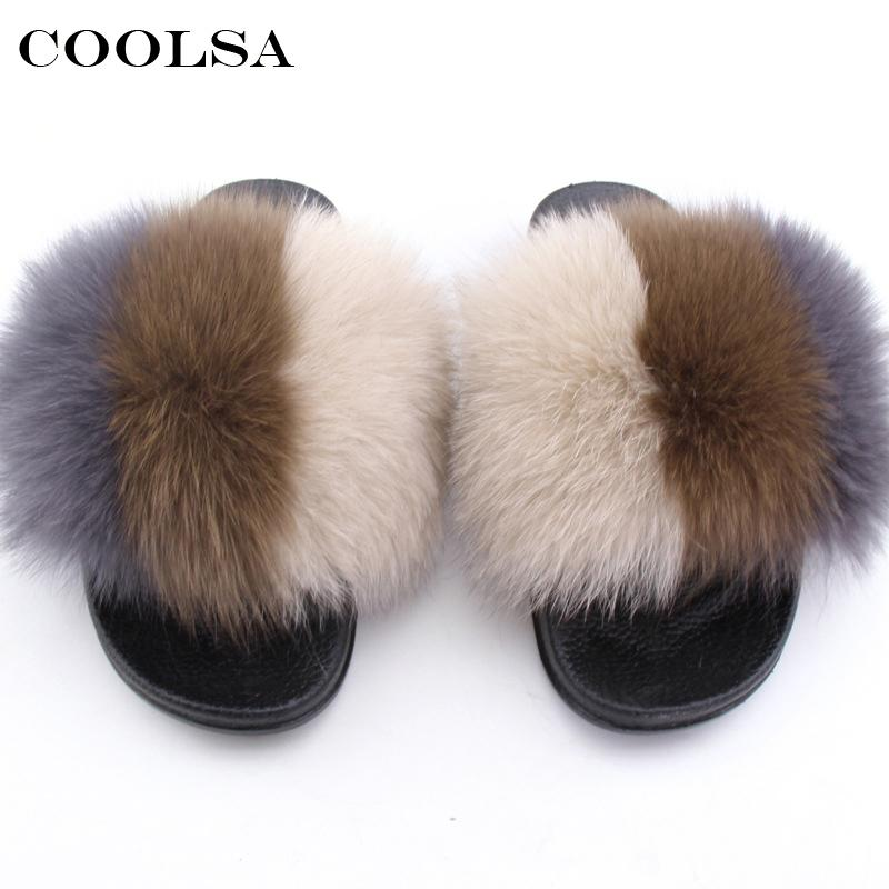 0ad8b3525c27 wholesale Summer Women Fur Slippers Real Fox Hair fluffy Mixed Colors Slides  Rubber Flat Non Slip Indoor Sandals Female Beach Shoes