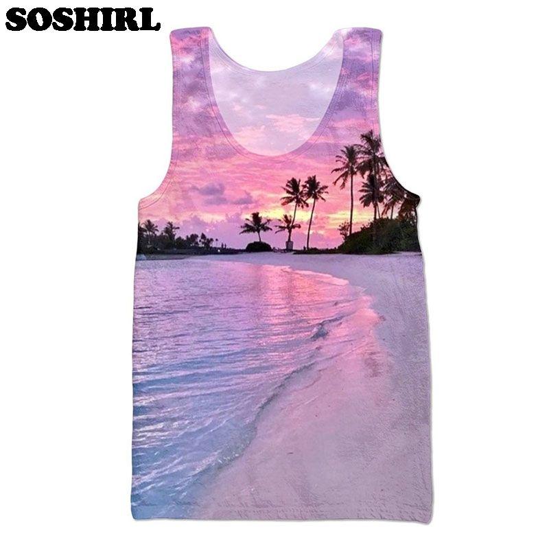 الجملة ، SOSHIRL الرجال سليم الجسم الصدرية القمم قميص 3D دبابة أعلى للجنسين شاطئ الغروب طباعة الملابس الداخلية الجمنازيوم الملابس عارضة سترة زائد الحجم