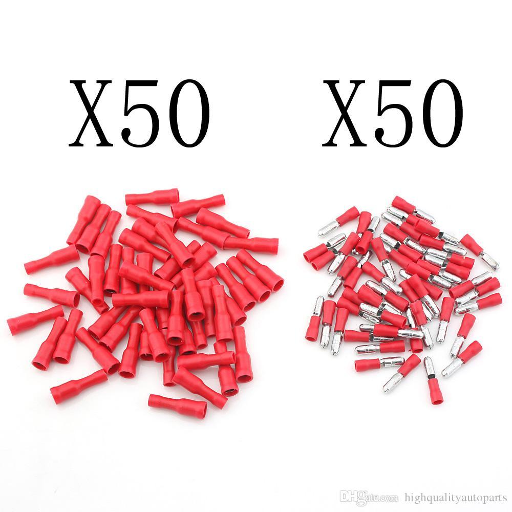(100 unidades / lote) Conectores de cable eléctrico aislados terminales de crimpado surtidos hembra de calidad roja Conjunto AWG 22-16 cables