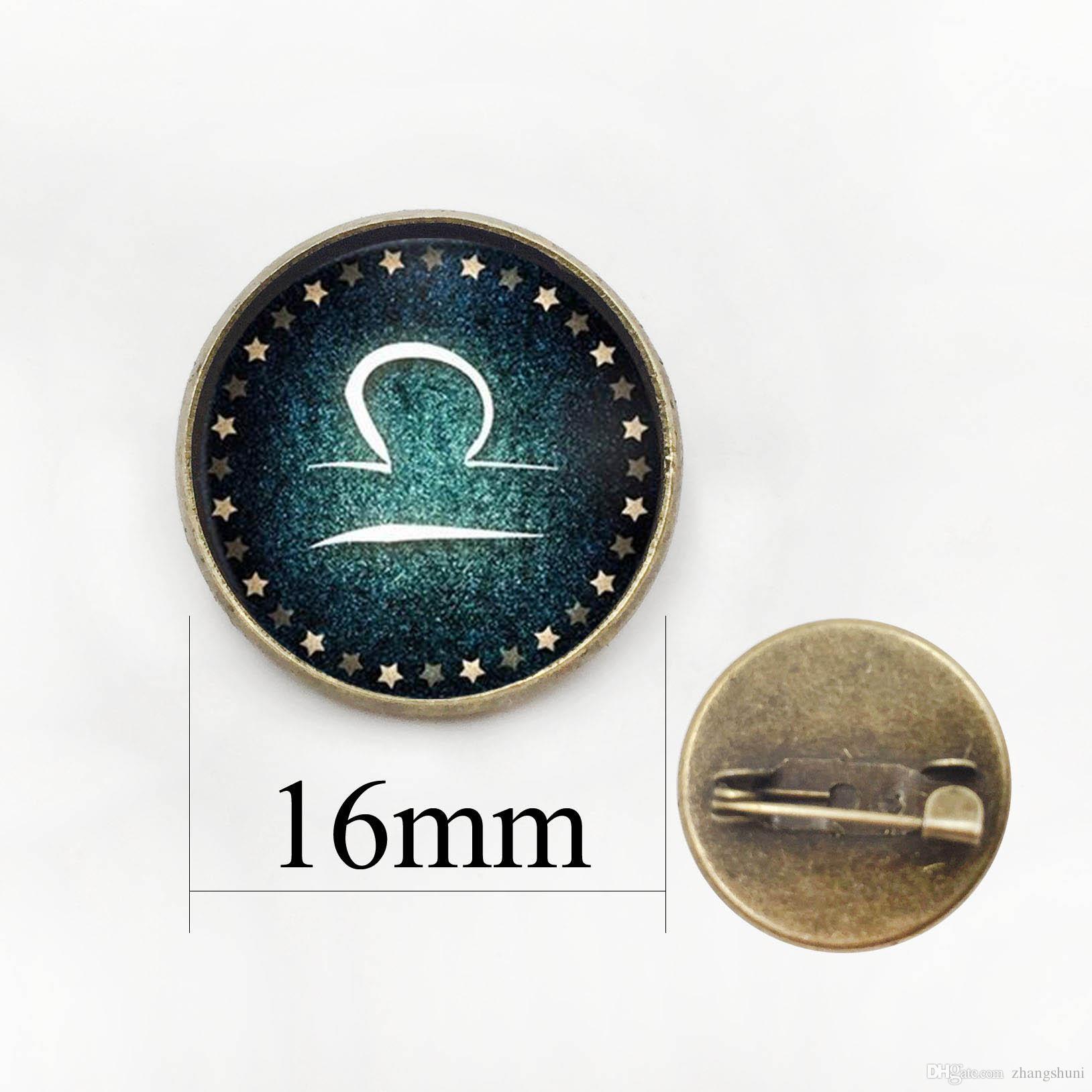 Áries Capricórnio Touro Leão Aquarius Libra Pin Broche 12 constelação De Vidro Padrão de RoupasBolsas Emblema Broche Jóias