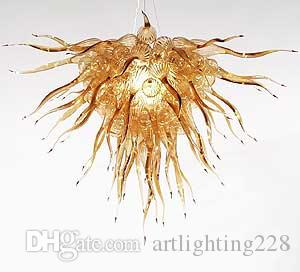 Envío gratis forma de la flor de cristal de vidrio soplado araña de iluminación de la casa Deco Murano Glass LED araña