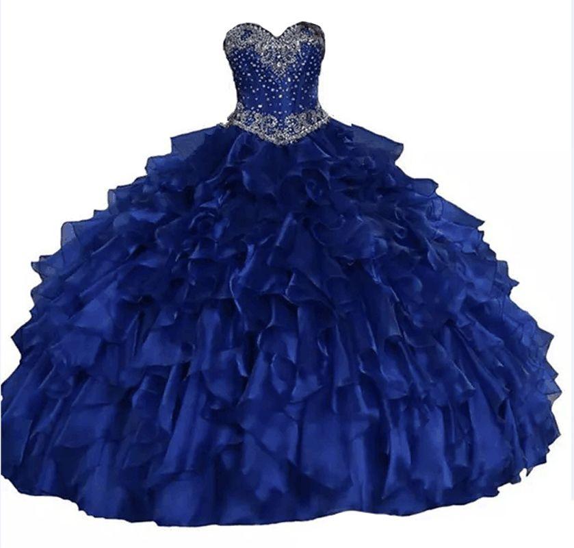2019 Real Sweetheart Ball 가운 Quinceanera Dresses 반짝이는 결정 Beadings Cascading Ruffles 레이스 업 Sweet 16 Princess Dresses